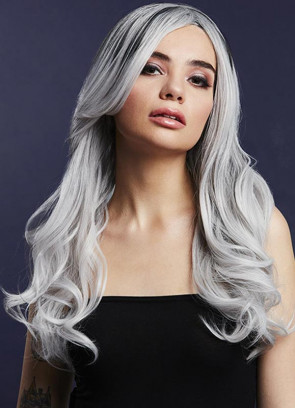 Deluxe Khloe Long Wavy Wig - Ice Silver - Styleable