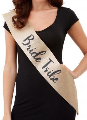 Deluxe Glitter Bride Tribe Sash - Gold Glitter with Black Writing