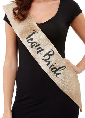 Deluxe Glitter Team Bride To Be Sash – Gold Glitter with Black writing