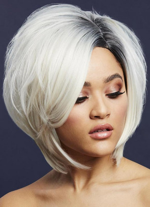 Deluxe Savanna Asymmetric Bob with Side Parting – Ice Blonde - Styleable