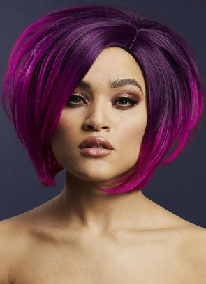 Deluxe Savanna Asymmetric Bob with Side Parting – Purple - Styleable