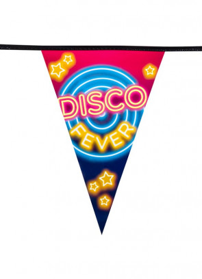 70's Disco Fever Neon Lights Bunting 6m – Single-Sided