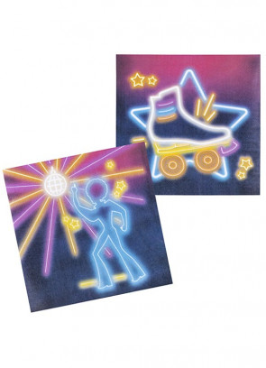 70's Disco Fever Neon Lights Napkins 16cm - 12pk