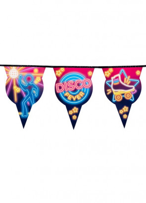 70's Disco Fever Neon Lights Bunting 6m – Double-Sided Paper
