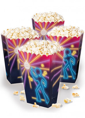 70's Disco Fever Neon Lights Popcorn Box 19cm – 4pk