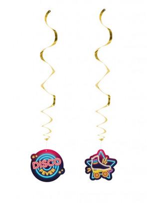 70's Disco Fever Neon Lights Swirl Ceiling Decorations – 2pk
