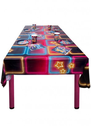 70's Disco Fever Neon Lights Table-Cover – 130cm x 180cm
