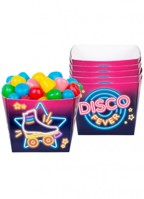 70's Disco Fever Neon Lights Small Paper Bowls - 6pk 40cl