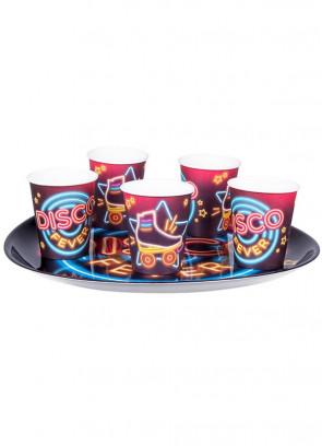 70's Disco Fever Neon Lights Paper Cups 25cl - 6pk