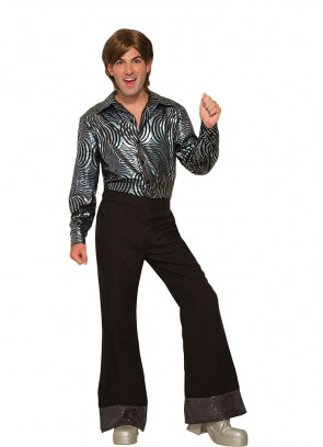 Flared Disco Pants Black Sequin