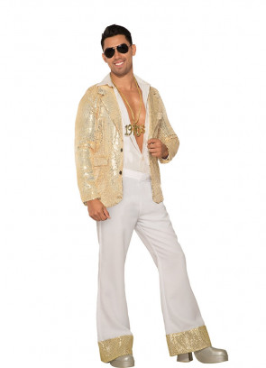 Flared Disco Pants White & Gold