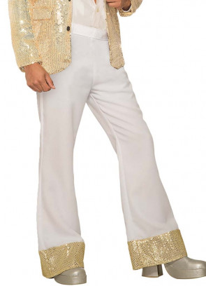 Flared Disco Trousers White & Gold - ABBA