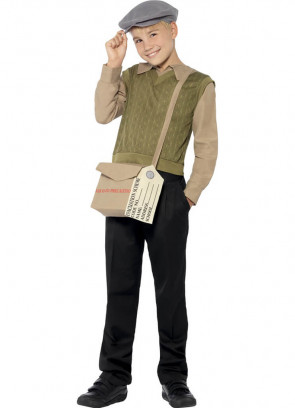 WWII Evacuee Boy - Brown & Green