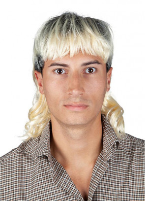 Two-Tone Blonde Mullet - Mr Exotic - Dark Roots