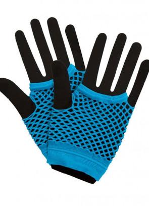 80s Fishnet Gloves Blue - Short