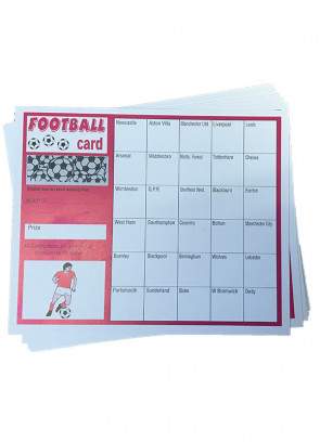 Open Stake Football Scratch Cards - 30 Teams - 10 Cards
