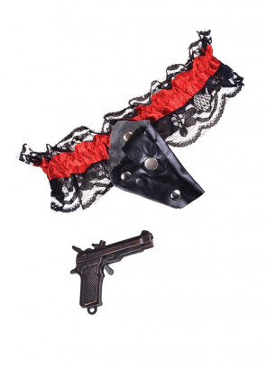 Red & Black Lace Garter With Small Gun