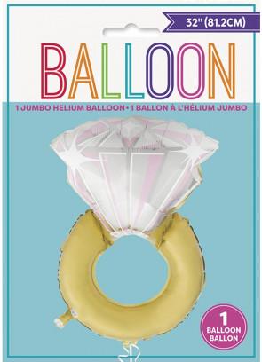 Giant Diamond Ring Foil Balloon – Double-Sided – Helium – 81.2cm