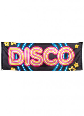 70's Disco Fever Neon Lights Party Banner – Giant Single-Sided - 220 x 74cm