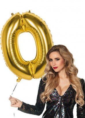 Gold Foil Balloon Number 0 – Helium or Air-fill – 86cm
