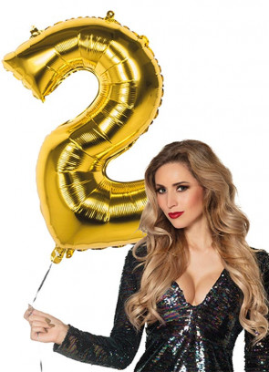 Gold Foil Balloon Number 2 – Helium or Air-fill – 86cm