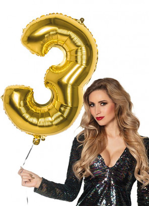 Gold Foil Balloon Number 3 – Helium or Air-fill – 86cm