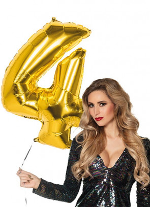 Gold Foil Balloon Number 4 – Helium or Air-fill – 86cm