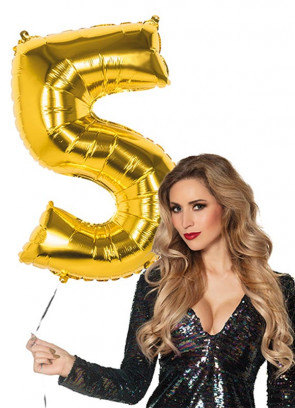 Gold Foil Balloon Number 5 – Helium or Air-fill – 86cm