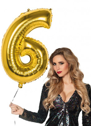 Gold Foil Balloon Number 6 – Helium or Air-fill – 86cm