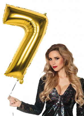 Gold Foil Balloon Number 7 – Helium or Air-fill – 86cm