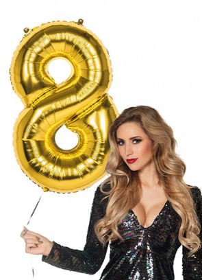 Gold Foil Balloon Number 8 – Helium or Air-fill – 86cm