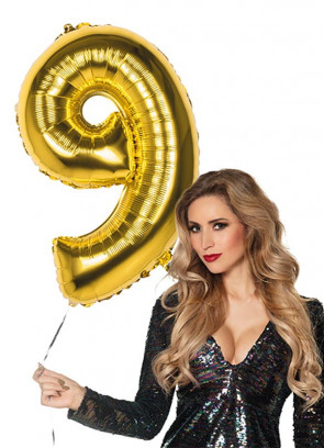 Gold Foil Balloon Number 9 – Helium or Air-fill – 86cm
