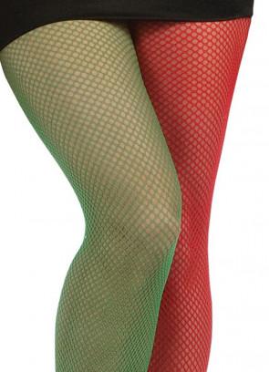 Green & Red Fishnet Tights - Elf - Dress Size 6-14