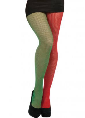 Green & Red Fishnet Tights - Elf - Dress Size 6-14