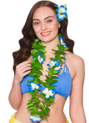 Hawaiian Lei Green Leaf Blue Flowers