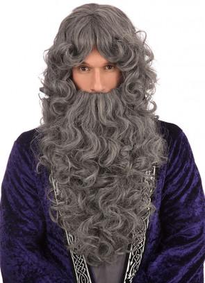 Long Grey Prof Wizard Wig And Beard