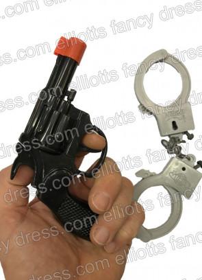 Gun & Plastic Handcuffs - 17cm