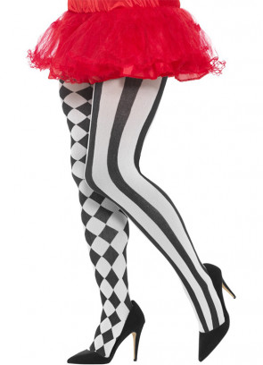Black and White Harlequin Tights - XL - Dress Size 16-22
