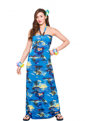 Hawaiian Long Beach Dress (Blue) Costume
