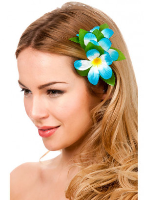 Hawaiian Flower Hair Clip (Light Blue and White)