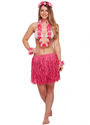 Hawaiian 5 Piece (Grass Skirt, Leis) Set Pink