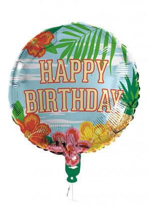 Hawaiian 'Happy Birthday' Foil Balloon – Double-Sided - Helium or Air-fill - 45cm