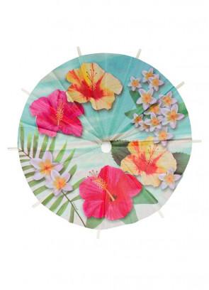 Hawaiian Hibiscus Cocktail Umbrellas 20cm – 6pk