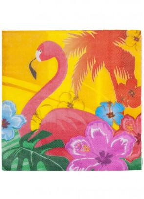 Hawaiian Flower Flamingo Paper Napkins 16.5cm – 12pk