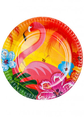 Hawaiian Flower Flamingo Paper Plates 23cm – 6pk