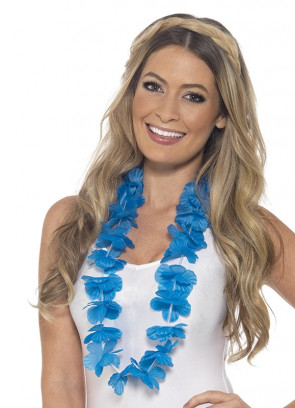 Hawaiian Flower Lei – Neon Blue