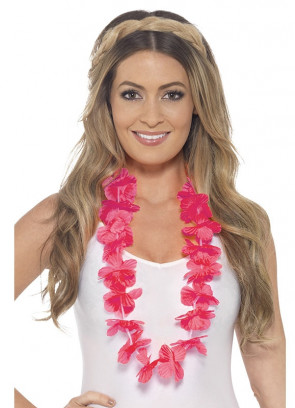 Hawaiian Flower Lei – Neon Pink