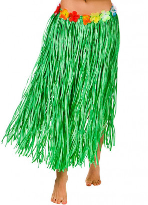 Hawaiian Long Green Grass Skirt with Flowers