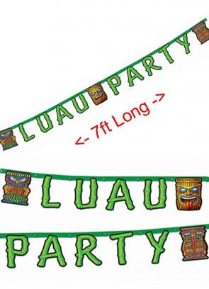"""Hawaiian """" Luau Party """" Banner / Bunting 7ft"""