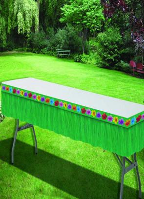 Hawaiian Luau - Green Plastic Table-Skirt 14ft